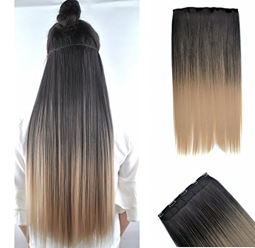 "FESHFEN 24"" Long Straight Ombre Two Tone Synthetic Hair Extensions Clip in on Hairpieces 5 Clips One Piece 3/4 Full Head Cosplay Party-BlackT16 Black to Dark Honey Blond"