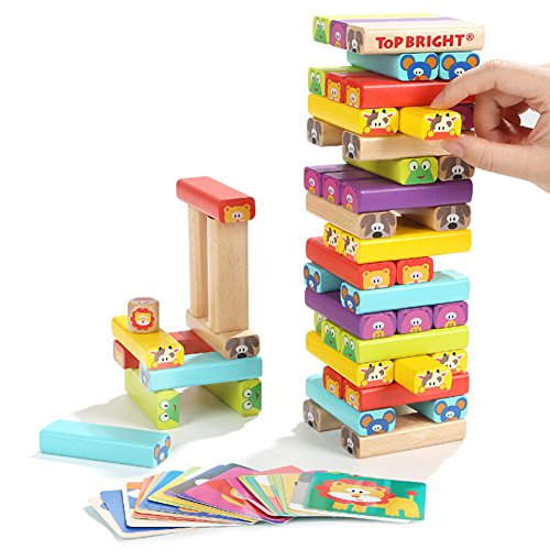 Outdoor Heater Finish - Baring Colored Wooden Blocks Cartoon Stacking Blocks Game for Fun Outdoor, Lawn & Yard - Great for Adults & Kids - Blocks 51 pieces, Cardboard24 & Dice1 Manual1 Included - Smooth Finish