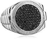 Sterling Silver Diamond Mens Band Ring (1/2 cttw), Size 10