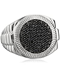 Men's Sterling Silver and Black Diamond Ring