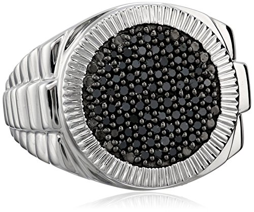 Mens Sterling Silver Black Diamond