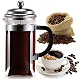 Classic Design No Electric Coffee Tea Maker Barista Accessories Coffee Tea Tools with Glass Container Heat Resistant/Stainless Steel Frame for 4+4 Cup Coffee, Milk, Tea, Fruit, Chocolate CCF6