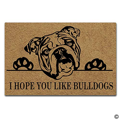 Artswow Funny Door Mat Entrance Floor Mat I Hope You Like Bulldogs Designed Decorative Indoor Outdoor Doormat Enterways Non-Slip Rubber Backing Mat 23.6