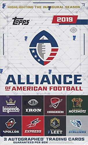 2019 Topps Alliance of American Football HOBBY box (24 pk, THREE Autograph cards)