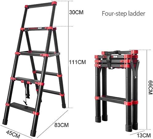 Zhongxingenggeng Telescópica Escalera Plegable Escalera De Elevación Pequeña Escalera Escalera Portátil De Cuatro Pasos Cinco Sexto Paso A Paso De Escalera De Acero De Múltiples Funciones Grueso Escal: Amazon.es: Hogar
