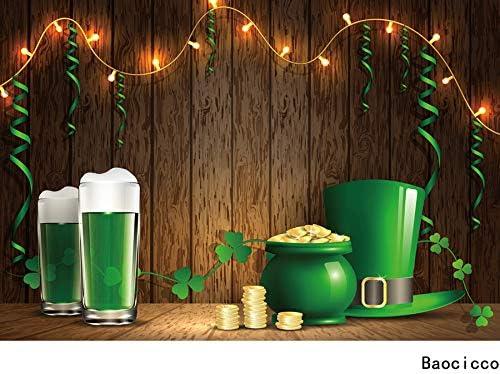 Haoyiyi 10x8ft Saint Patricks Day Backdrop Pot of Gold Golden Coins Brown Wooden Floor Green Grass Field Rainbow Shine Background Photography Children Celebration Photo Decorations