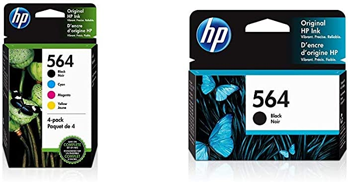 HP 564 | 4 Ink Cartridges | Black, Cyan, Magenta, Yellow | CB316WN, CB318WN, CB319WN, CB320WN, Model:3YQ22AN#140 & 564 | Ink Cartridge | Black | CB316WN