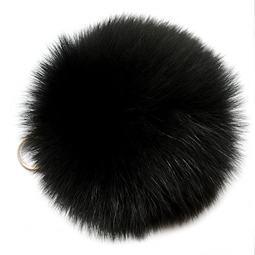 Valpeak 5 Fur Ball Keychain Fox Fur Pom Pom Keychain Fluffy Fur Keychain Balls (Black)
