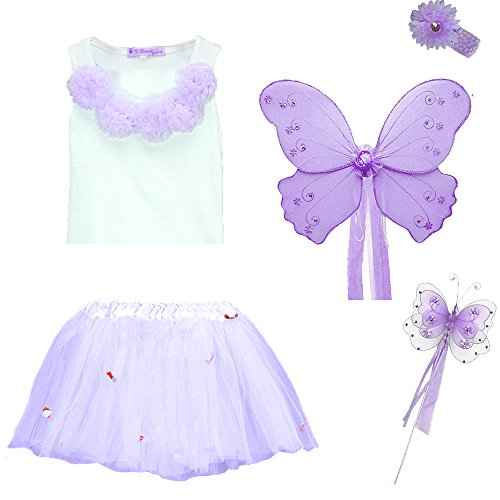 Butterfly Fairy Princess Wings, Wand, Tutu, Shirt, Hair Band Set (purple size 5/6) (Costumes With Purple Hair)