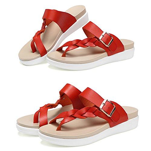 Compensées Plates Picine Vacances Femme Frestepvie Chaussures Tongs Flops Flip Sandales Orange Beach Plage Mules Eté Simple aUBzvBq