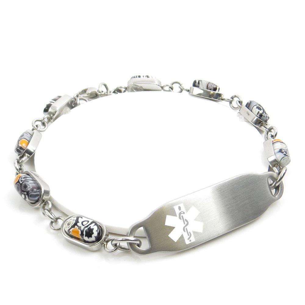 My Identity Doctor White Black//White Millefiori Glass Pattern Pre-Engraved /& Customized Demerol Allergy Alert Bracelet