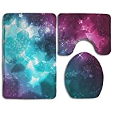 Bathroom Non-Skid Carpet Bath Rugs 3 Pieces Set Water-Absorbing Girly Wallpapers Flannel Toilet Floor Bath Mats Contour Rug Lid Cover