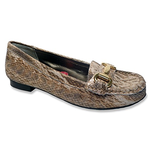 Ros Hommerson Womens Regina Moc Toe Casual Loafers Gold Snake Print haapRL