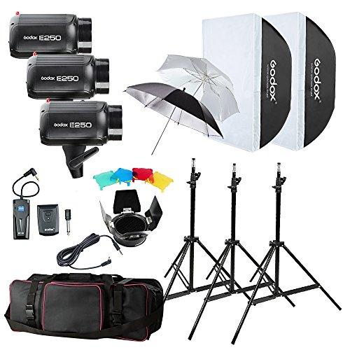 GODOX E250 750W (3x250W) Photography Studio Strobe Flash Softbox Light Stand Kit