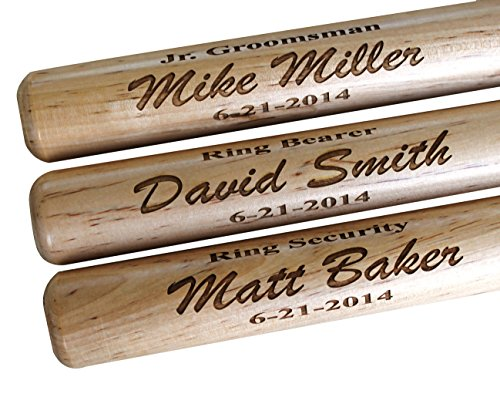 (Custom Personalized Mini Baseball Bat - Ring Bearer Groomsmen Gift - Monogrammed and Engraved for)