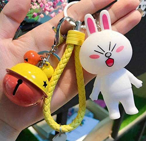(Thedmhom 1 Pcs New Cute Kawaii Cartoon Mischievous Cony Bunny Orange Bell Yellow Wrist Rope Keychain Novelty Toy Gift Fashion Naughty Rabbit Love Ornaments Coin Purse Keyring Bag Buckle Phone Pendant)