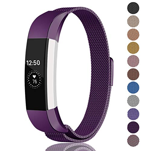 Fundro Compatible Fitbit Alta HR and Alta Bands (2 Pack), Stainless Steel Metal Milanese Bracelet Strap Replacement Wristband Magnetic Lock for Fitbit Alta Women Men (1-Pack Dark Purple, Small)