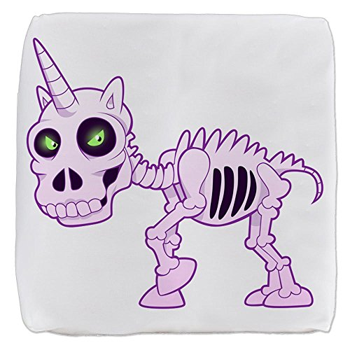 Truly Teague 18 Inch 6-Sided Cube Ottoman Pink Unicorn Skeleton