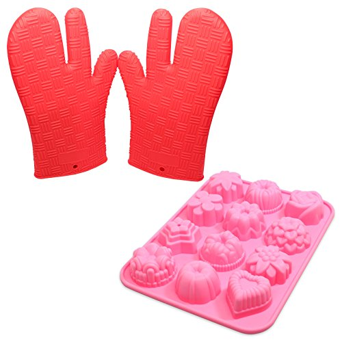 Silicone Baking Set - Silicone Mini Muffin Pan & Silicone Oven Mitt - 12 Cavity Bakeware Molds for Cupcakes, Candy, Tea Cake, Fondant, Chocolate, Jello, Brownie, Mini Muffin Pan, Cake Pop, Pudding, Sugarcraft - Protective Oven, Grill, BBQ, Fireplace, Microwave, Baking, Smoking and Cooking Gloves for Men and Women