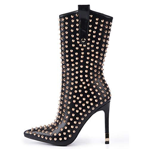 Hell&Heel Pointed Toe Stiletto Mid-Calf High Heel Boots with Rivets and Zipper