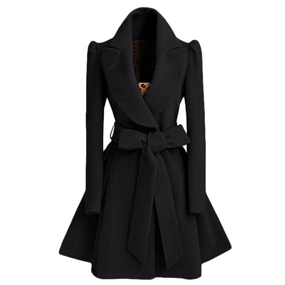 274305428fa LANMWORN Women s 3Colors Lapel Woolen Coat Jacket with Belt   Button ...