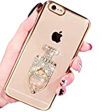 Unique Case Bumper for Apple iPhone 6 6S 4.7 inch, Generic Gold Plating Soft TPU Gel Transparent 3d Bottle Glitter Diamond Crystal Design Clear Protective Stand Cover with Ring Support Function