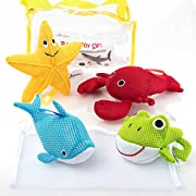 Little Additions Soft and Educational Baby Bath Toy Set with Storage Bag