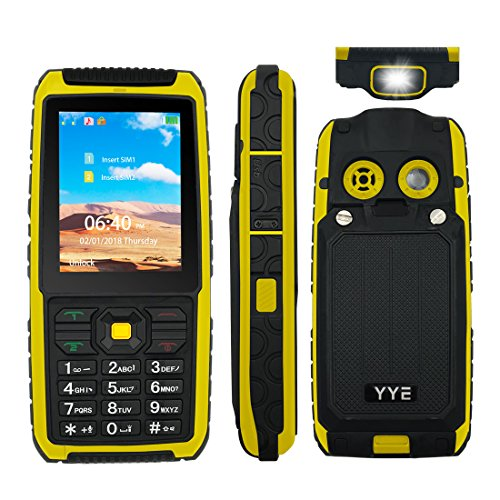 Rugged GSM Cell Phone, Unlocked Cell Phone Power Bank Tough Mobile Phone Features Phone with Large Capacity Battery/waterproof Loudspeaker/High Flashlight - Yellow