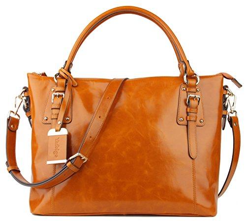 age Soft Genuine Leather Tote Shoulder Bag Top Handle Bag Cross body Handbags Satchel for Ladies(Brown) (Metal Logo Handbag)