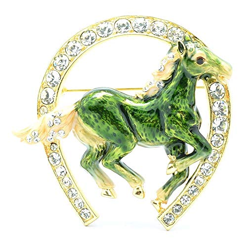 Excellent Real Austrian Crystals Green Enamel Horseshoe Horse Brooch Pin Badge Emblem Corsage Broach for Women Girl Jewelry Sba4515