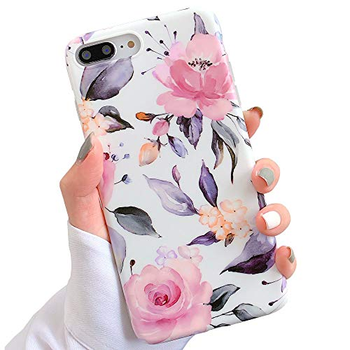 - iPhone 8 Plus / 7 Plus Case for Girls, YeLoveHaw Flexible Soft Slim Fit Full Protective Cute Shell Phone Case with Floral and Leaves Pattern for iPhone 7Plus / 8Plus 5.5 Inch (Purple Flowers)