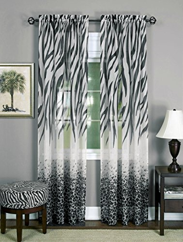 Brighter Room Savannah Collection Wild Safari Zebra and Leopard Print Set of 2 Sheer Panels in Black (50