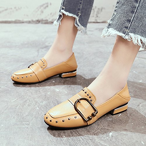 Flat Women With Shoes Children Single Head Shoes Spring Shoes Wild Shoes Women'S Beige Children GAOLIM Low Square Bottomed 6wPHpXxy