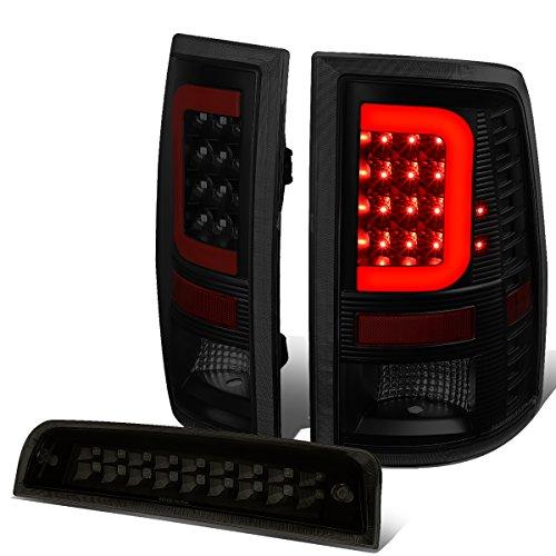 For Dodge Ram Pair Black Housing Smoked Lens Red 3D LED Light Bar Tail Lights+Dual Row 3rd Brake Light