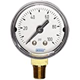 WIKA 9747257 Commercial Pressure Gauge, Dry-Filled, Copper Alloy Wetted Parts, 1-1/2