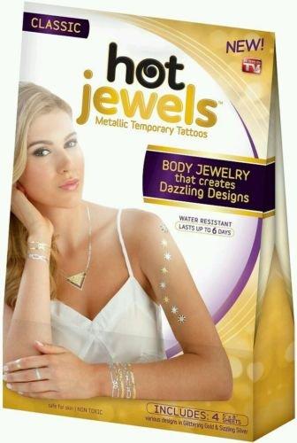 Hot Jewels Metallic Temporary Tattoos set of 4 sheets Classic (Jewels Regency)