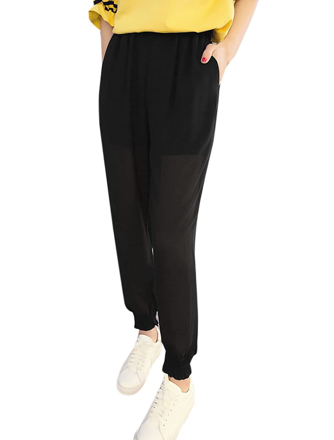 uxcell Women Smocked Cuffs Semi Sheer Tapered Loose Pants