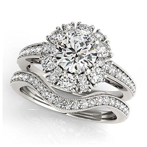14K White Gold Unique Wedding Diamond Bridal Set Style MT50879