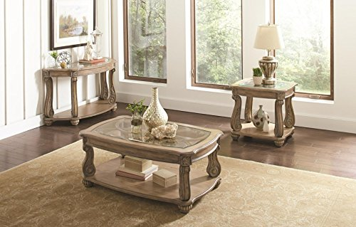 Coaster Ilana Collection 720598SET 3 PC Living Room Table Set with Coffee Table + Sofa Table + End Table in Antique Linen Finish by Coaster-Products