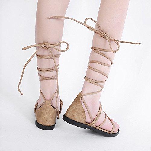 De Los Mujer Señoras Romanos Pu Para Transpirables Planas Marrón Zapatillas Personalizadas Zapatos Correa La Sandalias Las adwqTBY