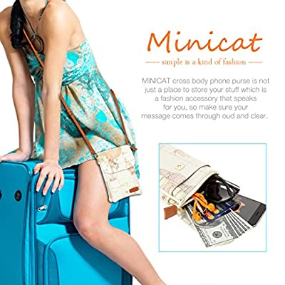 MINICAT World Map Series Synthetic Leather Small Crossbody Cell Phone Purse Wallet Smartphone Bags For Women