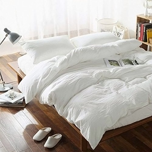 FOSSA WashedCottonDuvetCoverSetQueen 3 Piece Bedding Sets SoftWrinkledSolidDesign (Queen, Off White)