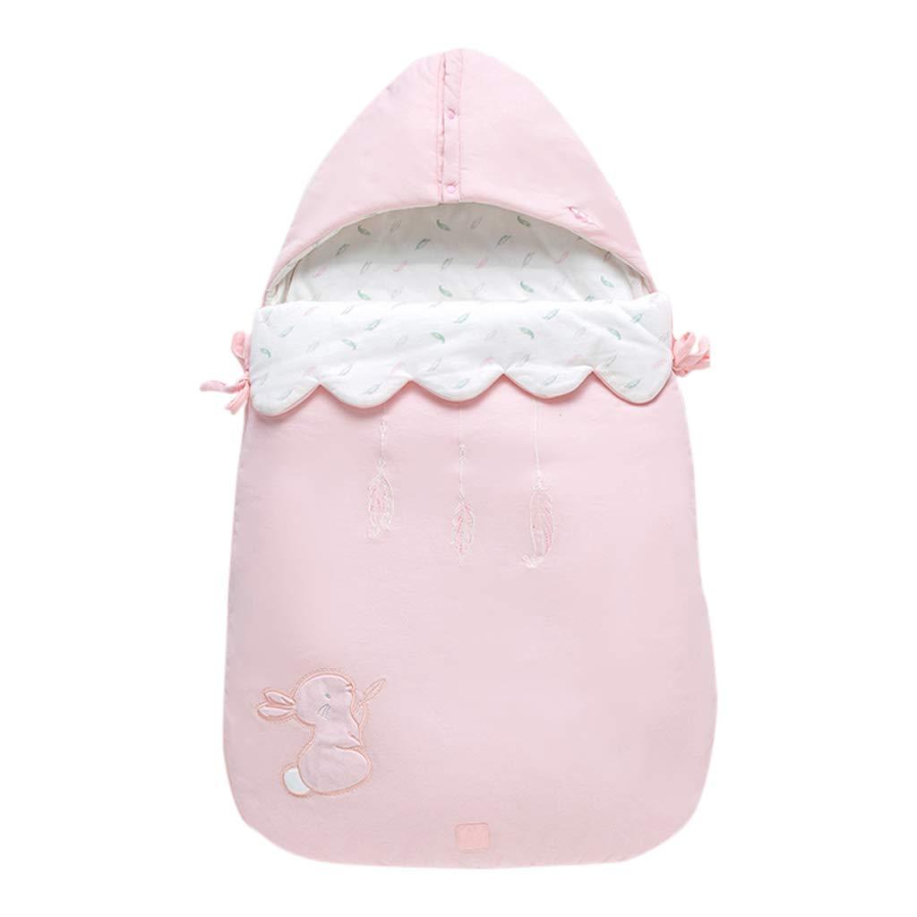HUYP 赤ちゃんの寝袋ラップ毛布アンチキックキルト赤ちゃん旅行毛布新生児肥厚秋冬毛布 (色 : ピンク)  ピンク B07P1QC66C