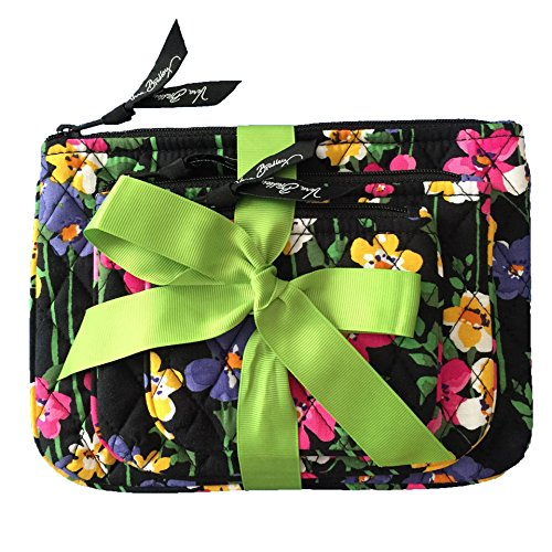 Price comparison product image Vera Bradley Cosmetic Trio Wildflower Garden with Solid Black Lining