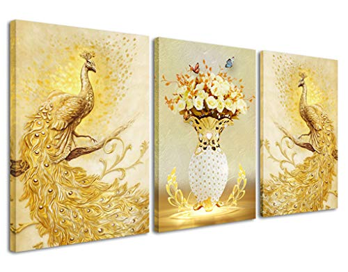 Peacock Canvas Wall Art for Bedroom Golden Vase Painting Prints Retro Animal Picture Artwork for Home Wall Decor 3 Panels (Gold, ()