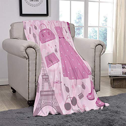Rug Baby Betty Boop - Light weight Fleece Throw Blanket/Heels and Dresses,Paris Fashion Atelier French Boutique Feminine Glamor Eiffel Decorative,Baby Pink Mauve Magenta/for Couch Bed Sofa for Adults Teen Girls Boys