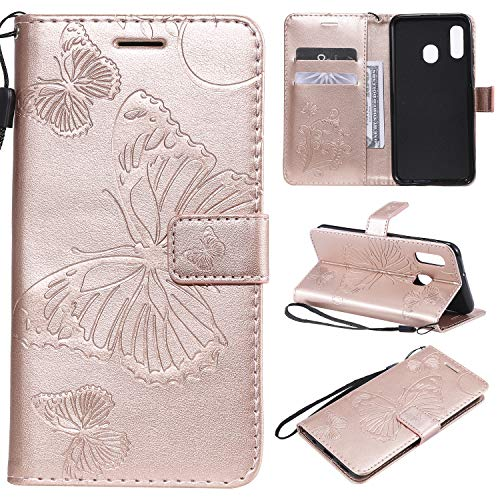 Amocase Wallet Leather Case with 2 in 1 Stylus for Samsung Galaxy A20E,Premium Strap 3D Butterfly Magnetic PU Leather Stand Shockproof Card Slot Case for Samsung Galaxy A20E - Rose Gold