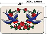 Liili Large Table Mat Non-Slip Natural Rubber Desk Pads Old school with roses and birds Photo 21447876