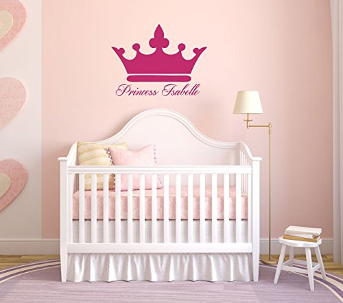 Girls Name Decals - Princess Crown With Custom Name Vinyl Art - Woman, Teenager, or Young Girl Decoration (Madison Crib Set)