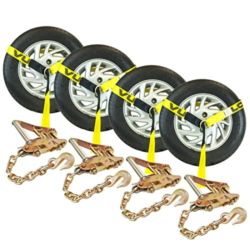 Vulcan 96 Lasso Style Auto Tie Down w/Chain Anchors- 3300 lbs. SWL, 4 Pack